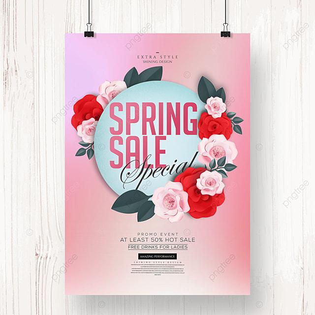 fashion color spring flower promotion poster
