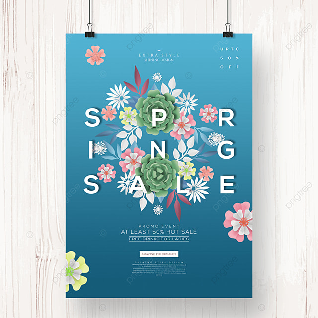 fashion creative flower spring promotion poster
