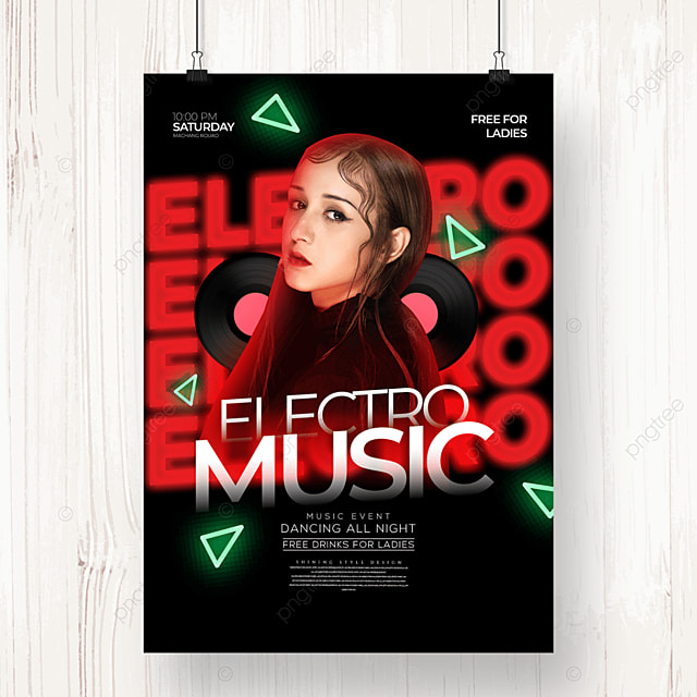 fashion neon light effect electronic music party poster