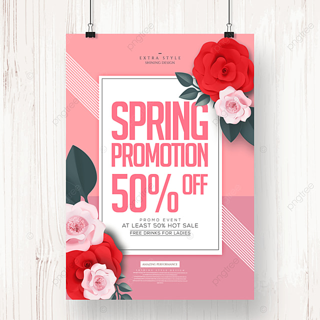 fashion personality flower spring promotion poster