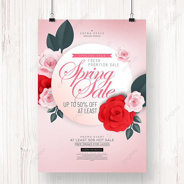 fashion romantic flower spring promotion poster