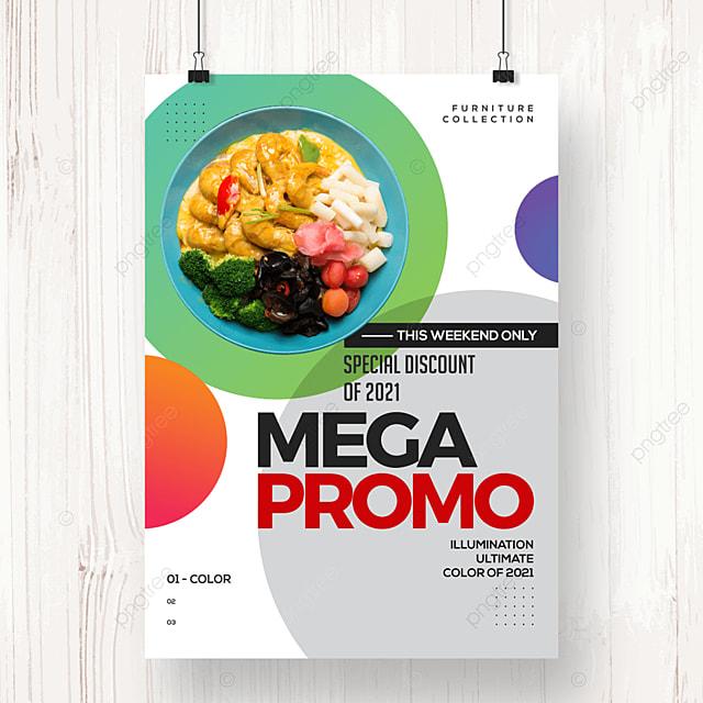 fashion round geometric food promotion poster