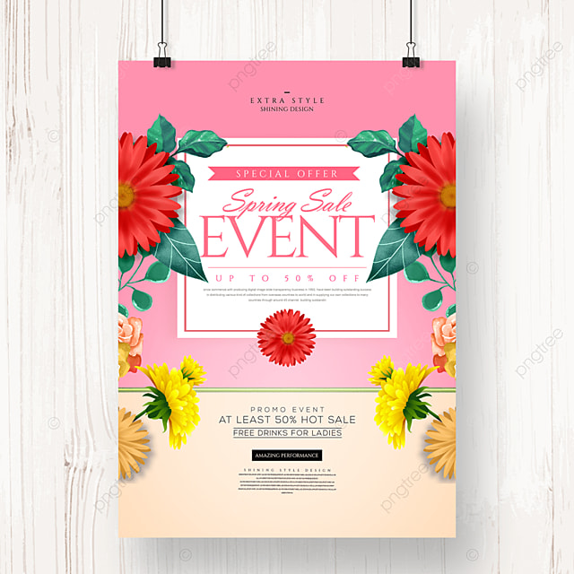 fashion simple spring flower promotion poster