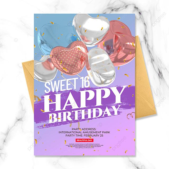 gradient style balloon birthday party invitation