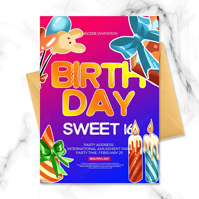 gradient style birthday party invitation
