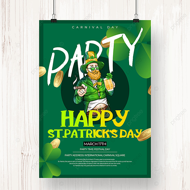 green creative st patricks day beer creative poster