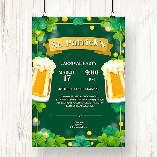 green st patricks day beer poster