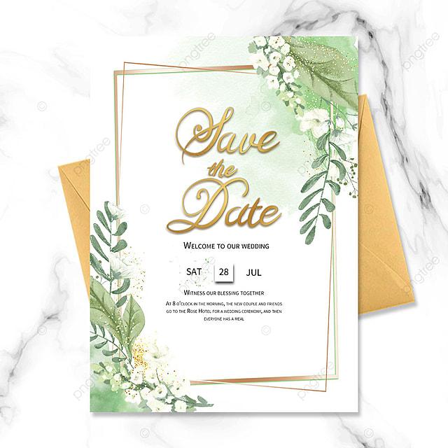 green watercolor blooming flower wedding invitation