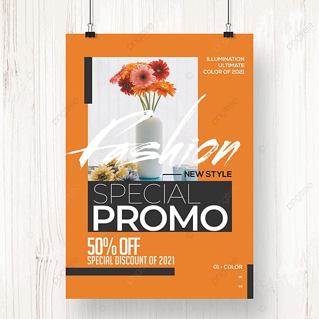 modern fashion color block geometric promotion poster
