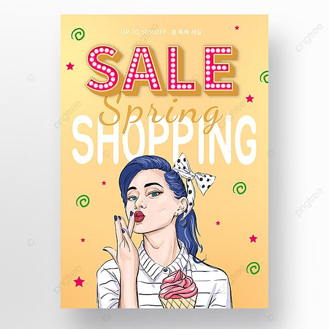 orange gradually retro spring dessert promotion poster