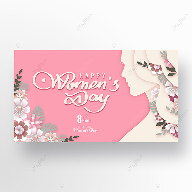 pink gradient happy womens day template