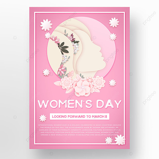 pink womens day simple template