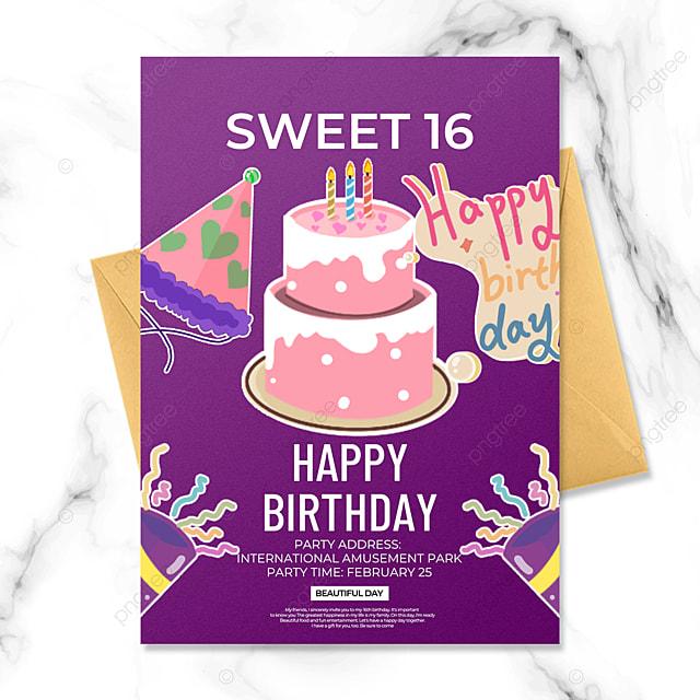 purple creative birthday party invitation