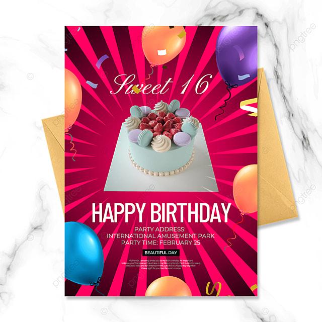 red background birthday party invitation