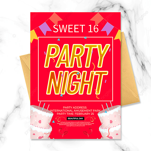 red birthday party invitation