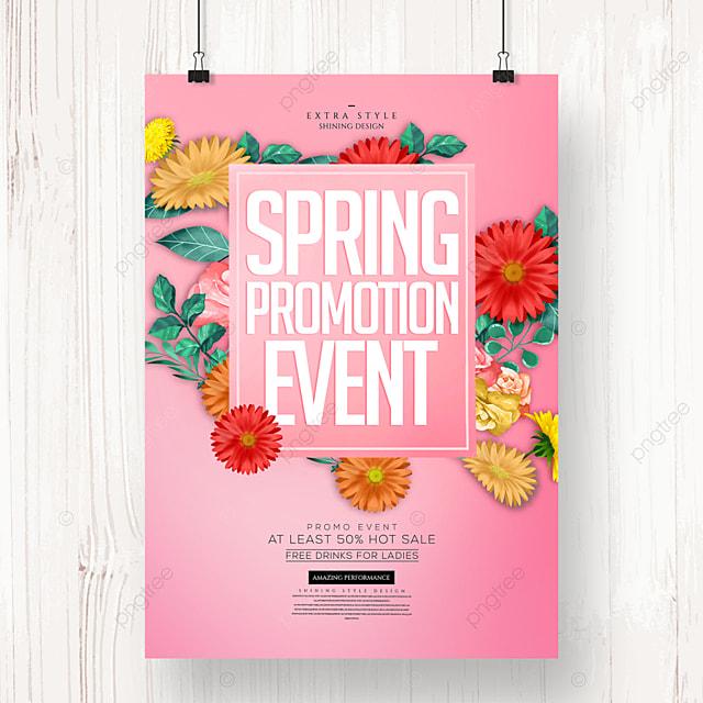romantic spring cartoon flower promotion poster