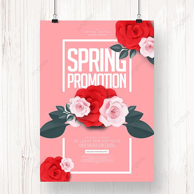 simple cartoon flower spring promotion poster