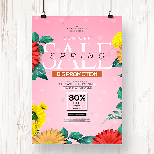 simple fashion flower spring promotion poster
