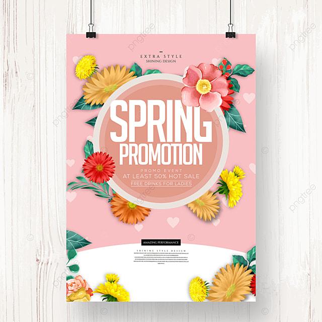 simple natural spring flower promotion poster