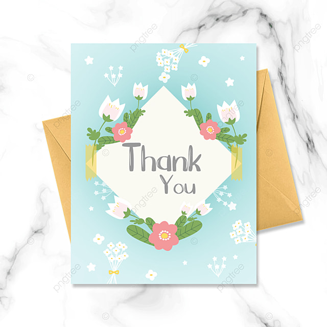 thank you card with pink flowers on light blue background
