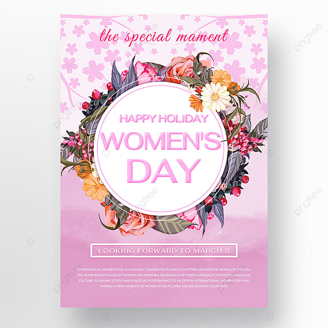 womens day pink flower template