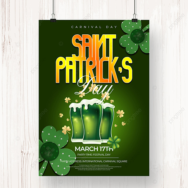creative green background beer st patricks day beer poster
