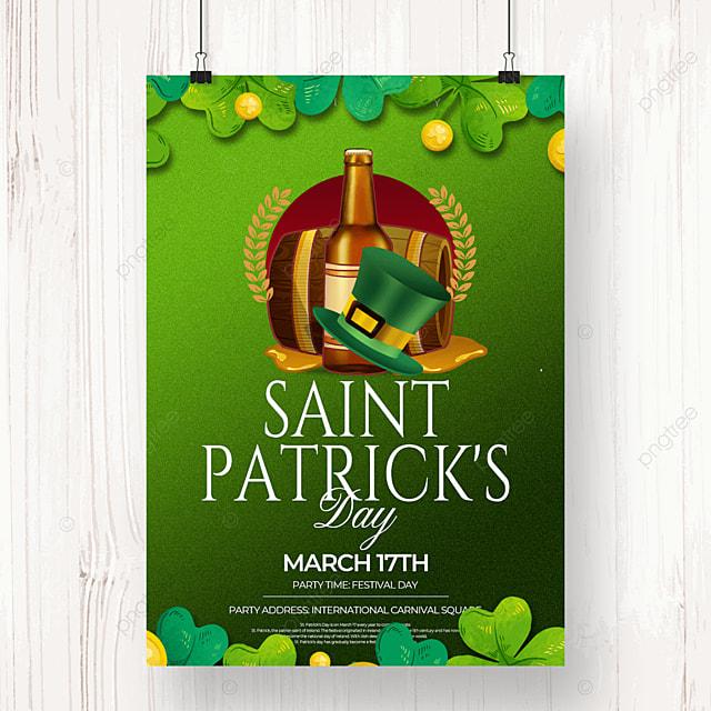 creative green clover saint patricks day beer poster