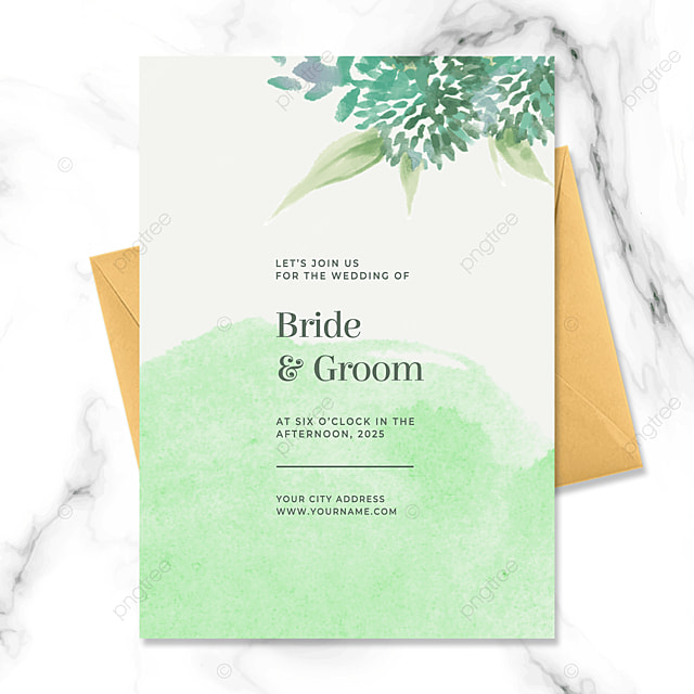 creative high end green floral watercolor blooming wedding invitation