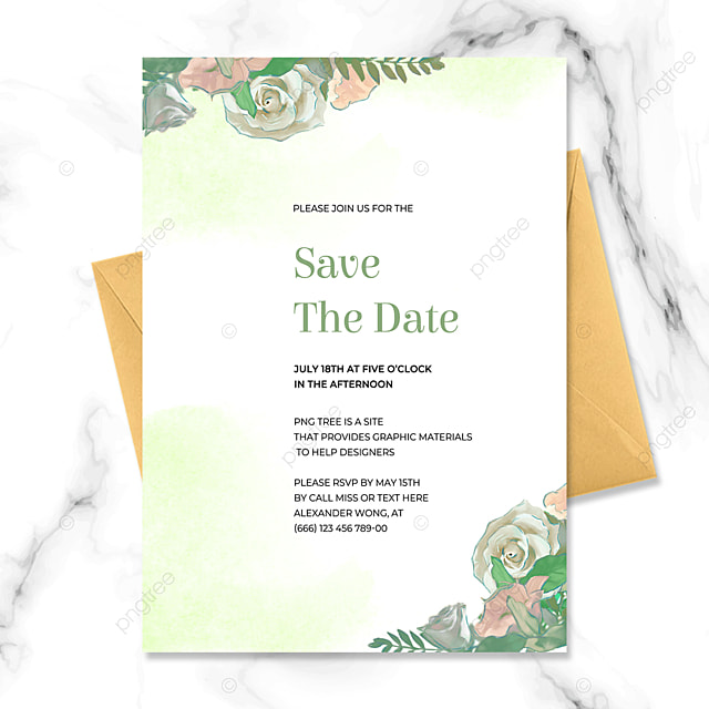 exquisite fashion green floral watercolor blooming wedding invitation