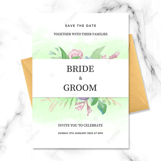 exquisite frame green floral watercolor smudge wedding invitation