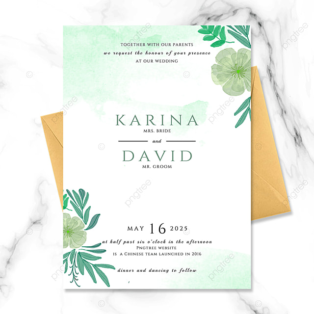 exquisite high end fashion green floral watercolor blooming wedding invitation