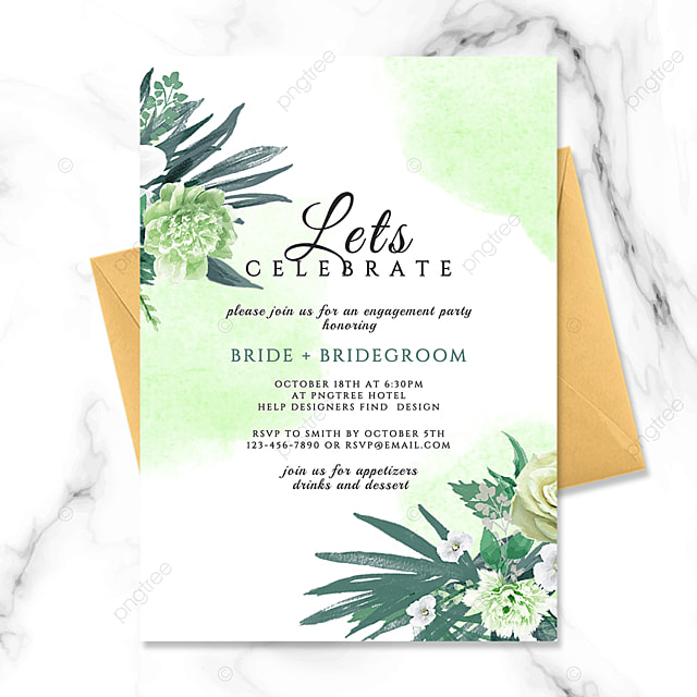 exquisite high end green flowers watercolor smudge wedding invitation