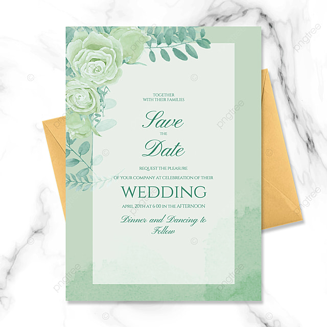 fashion frame green floral watercolor smudge wedding invitation