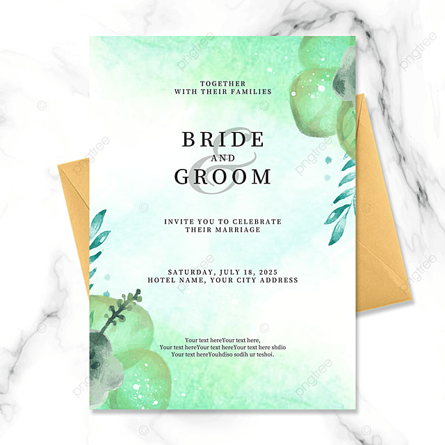 fashion gradient green floral watercolor blooming wedding invitation