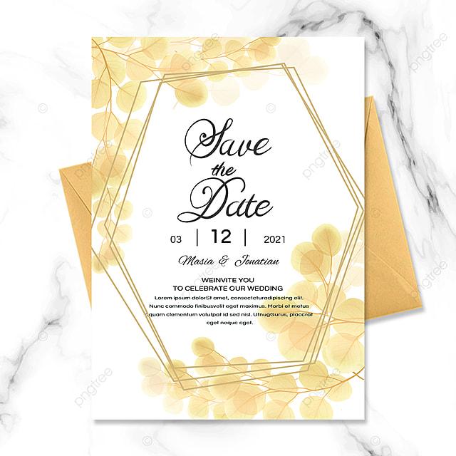 golden border wedding invitation