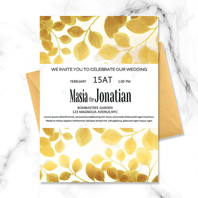 golden floral luxury wedding invitation