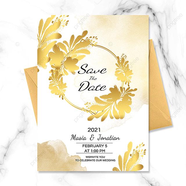 golden luxury plant border wedding invitation