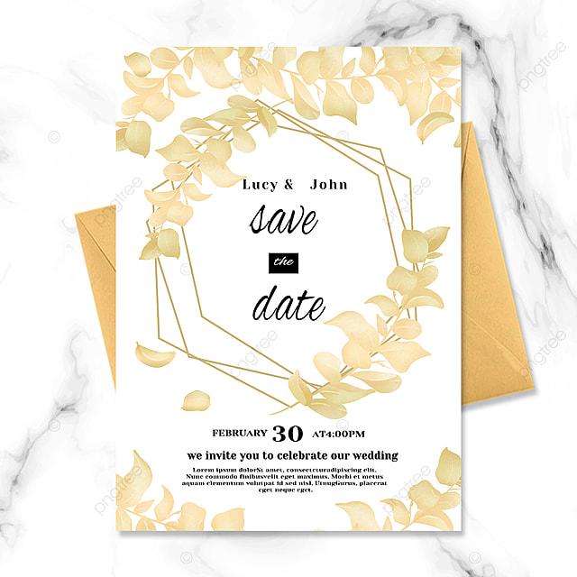 golden luxury texture plant wedding invitation