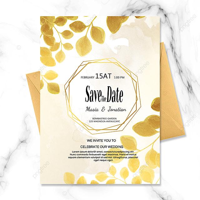 golden plant line wedding invitation