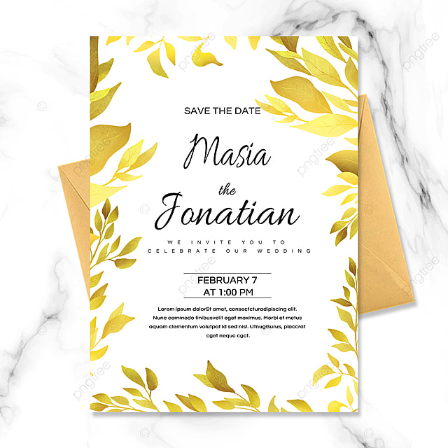 golden plant luxury wedding invitation