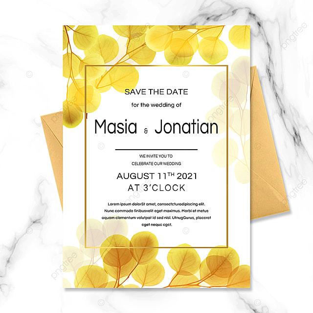 golden plant texture wedding invitation