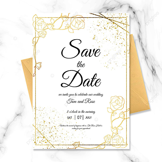 golden texture floral wedding blessing invitation
