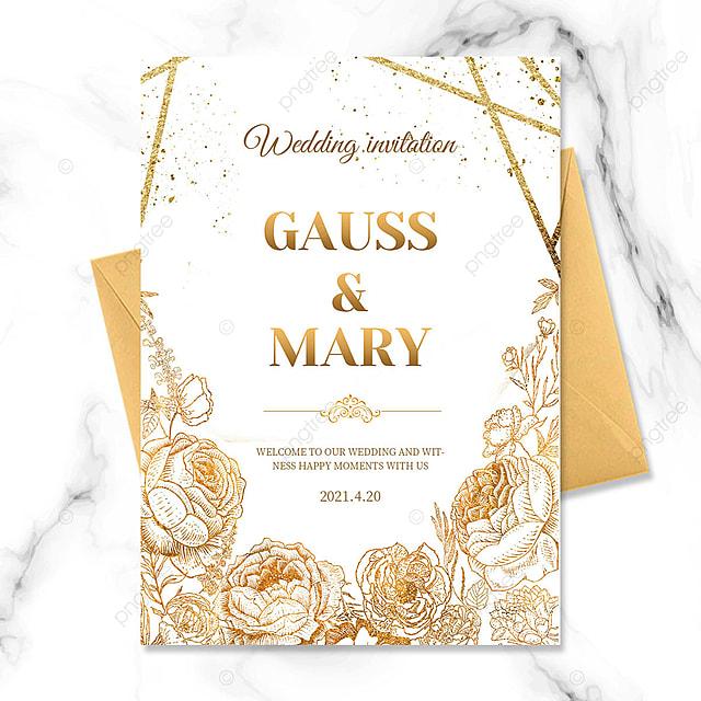 golden texture floral wedding celebration invitation