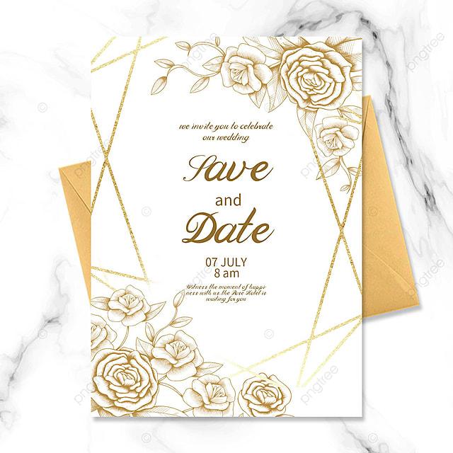 golden texture floral wedding invitation