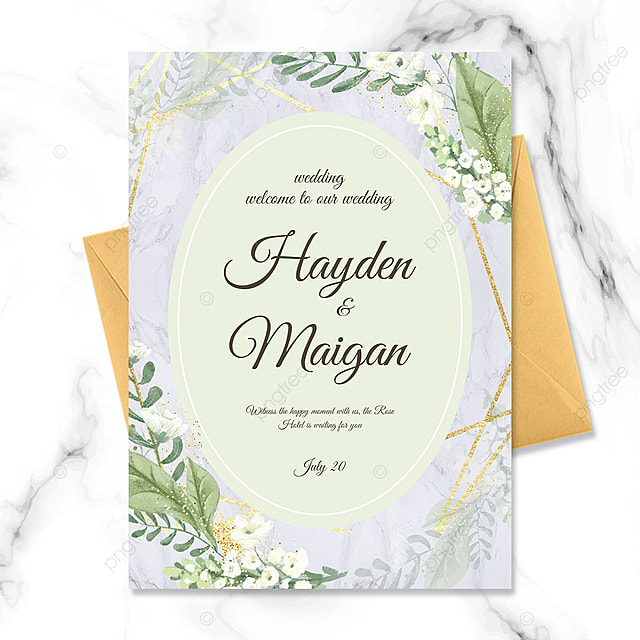 green flowers watercolor smudge wedding invitation