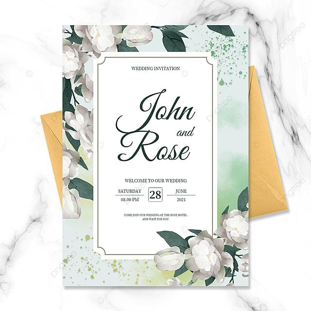 green gradient watercolor blooming flower wedding invitation
