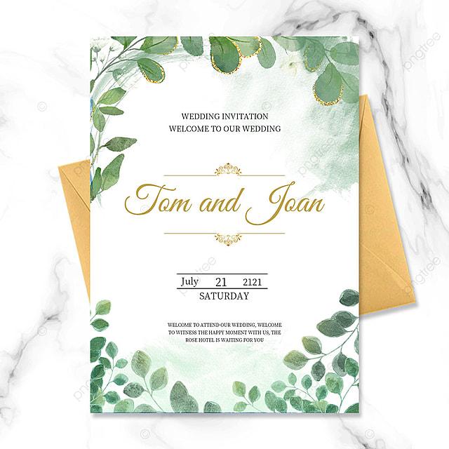 green watercolor flower wedding celebration invitation