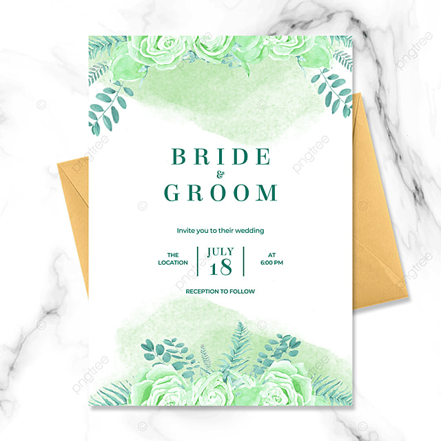 high end creative green floral watercolor blooming wedding invitation