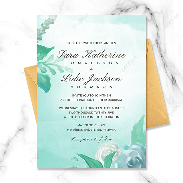 high end exquisite creative green floral watercolor blooming wedding invitation