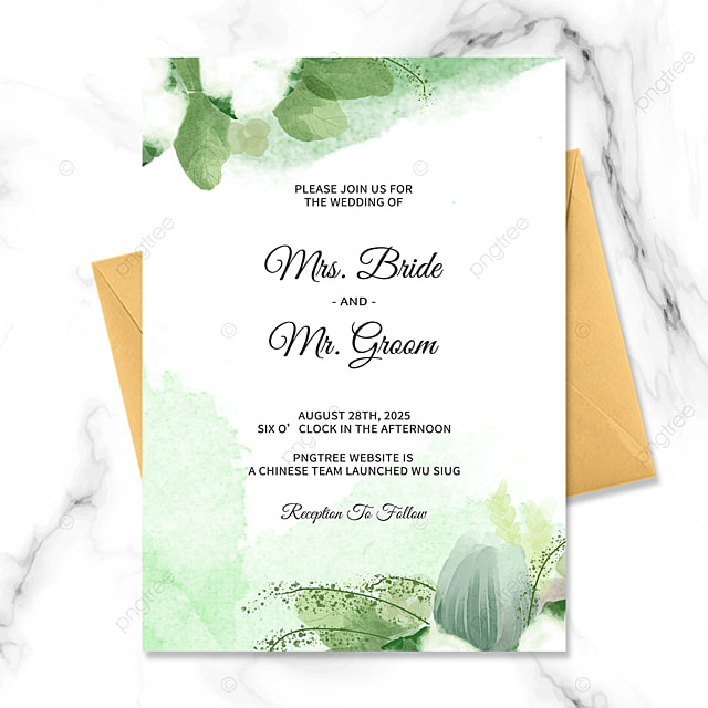 high end exquisite green floral watercolor blooming wedding invitation
